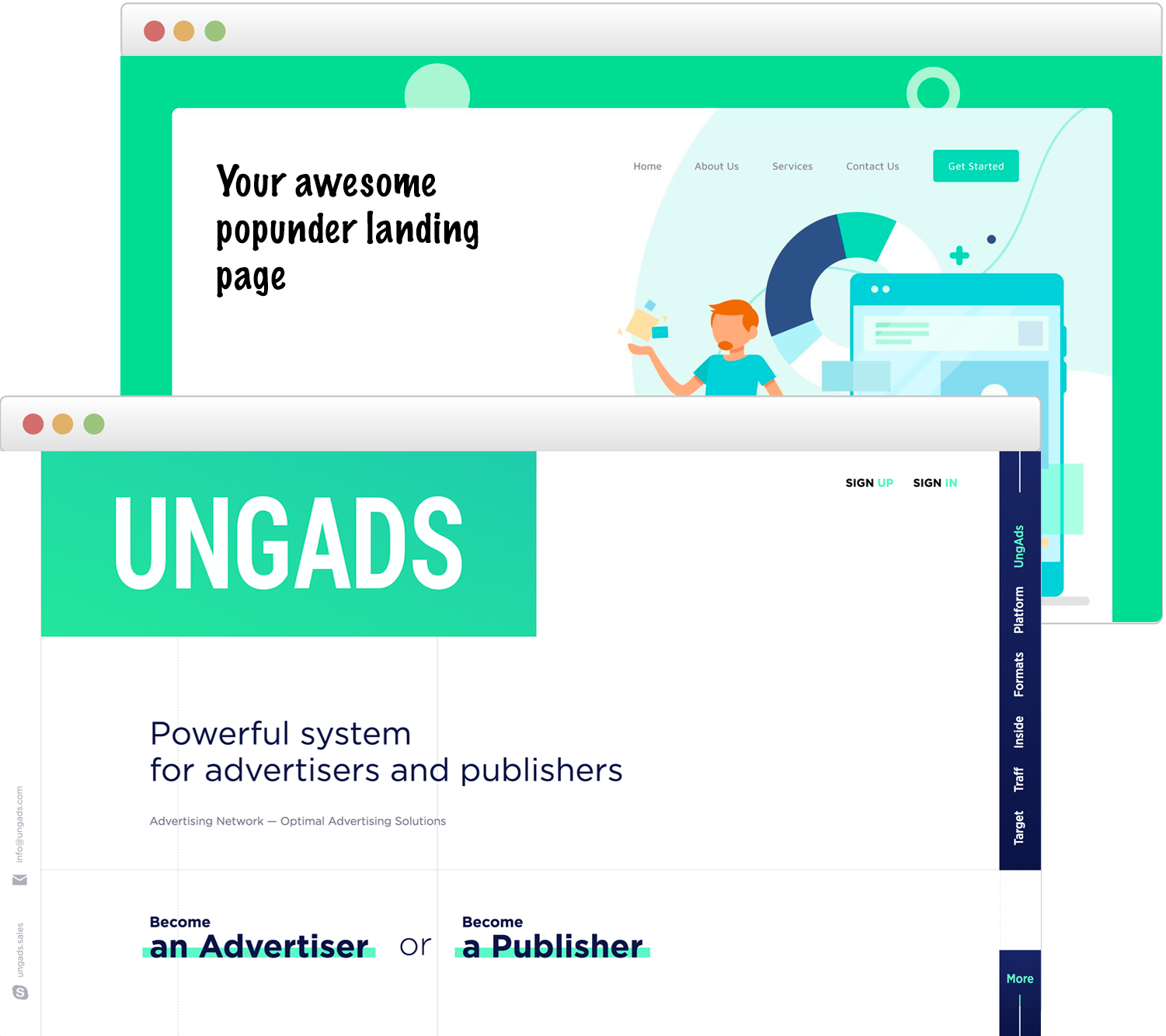 UngAds advertising network - smartCPA and CPM, Push notifications